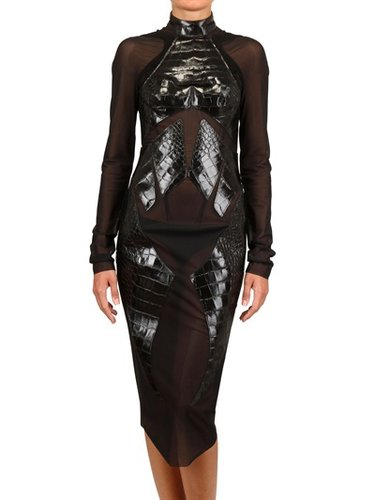 Mugler - Printed Croco Insert Spandex Net Dress