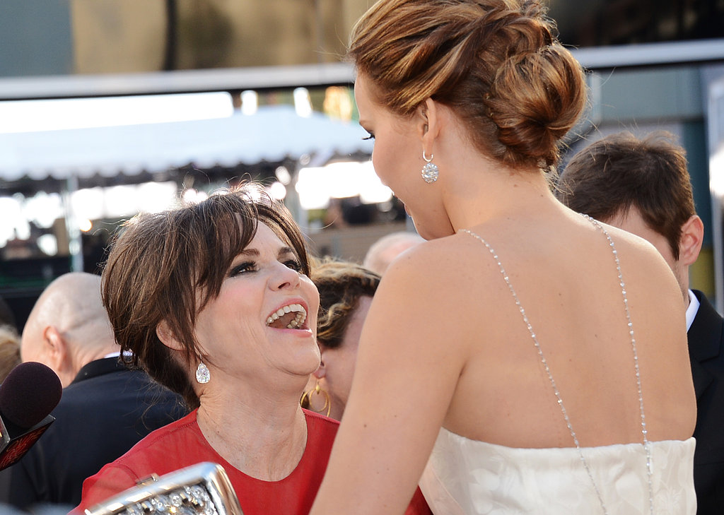 Sally Field and Jennifer Lawrence laughed together.