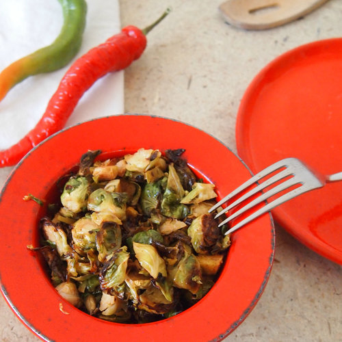 Mexican Brussels Sprouts- Lemony, Spicy Roasted Sprouts with Pepitas