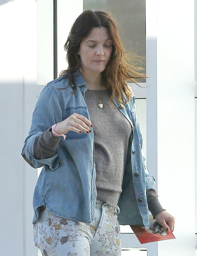 Drew Barrymore left an art gallery in Beverly Hills.