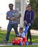 Alessandra Ambrosio and Jamie Mazur switched off on baby duty during their LA walk on Monday.