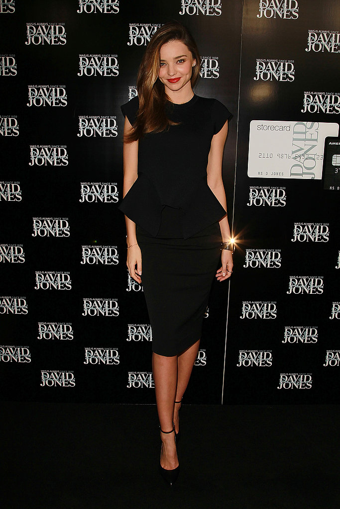 Miranda Kerr worked the classic angle in a peplum-trimmed LBD.