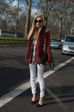 Joanna Hillman made very chic use of burgundy, fur, and a pair of sleek pumps.
