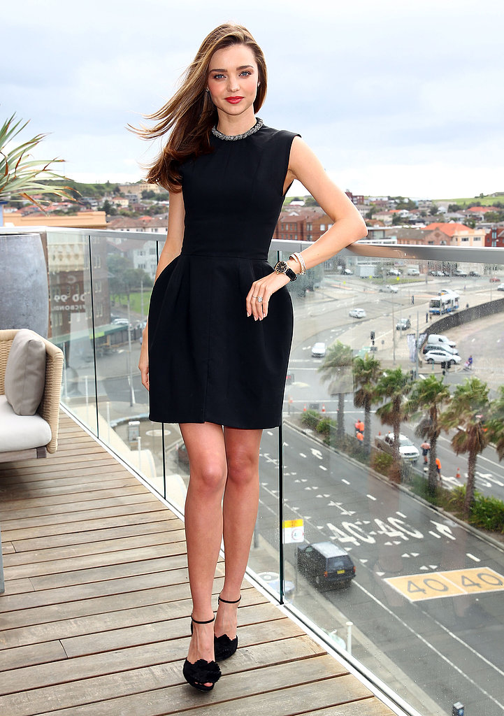 Another LBD moment for Miranda — this time in a bell-skirted mini with standout heels.