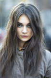 Model Antonina Vasylchenko smoldered postshow with her bright blue eye shadow. Source: Le 21ème | Adam Katz Sinding