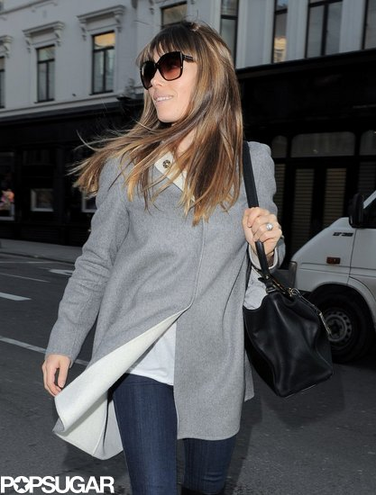 Jessica Biel walked in London wearing sunglasses.