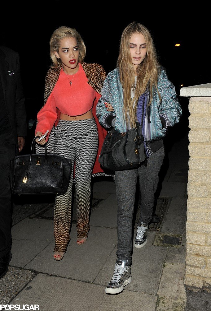 Rita Ora and Cara Delevingne went party-hopping during London Fashion Week on Monday night.