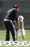 David Beckham played around with Cruz on the soccer field in LA in October 2010.