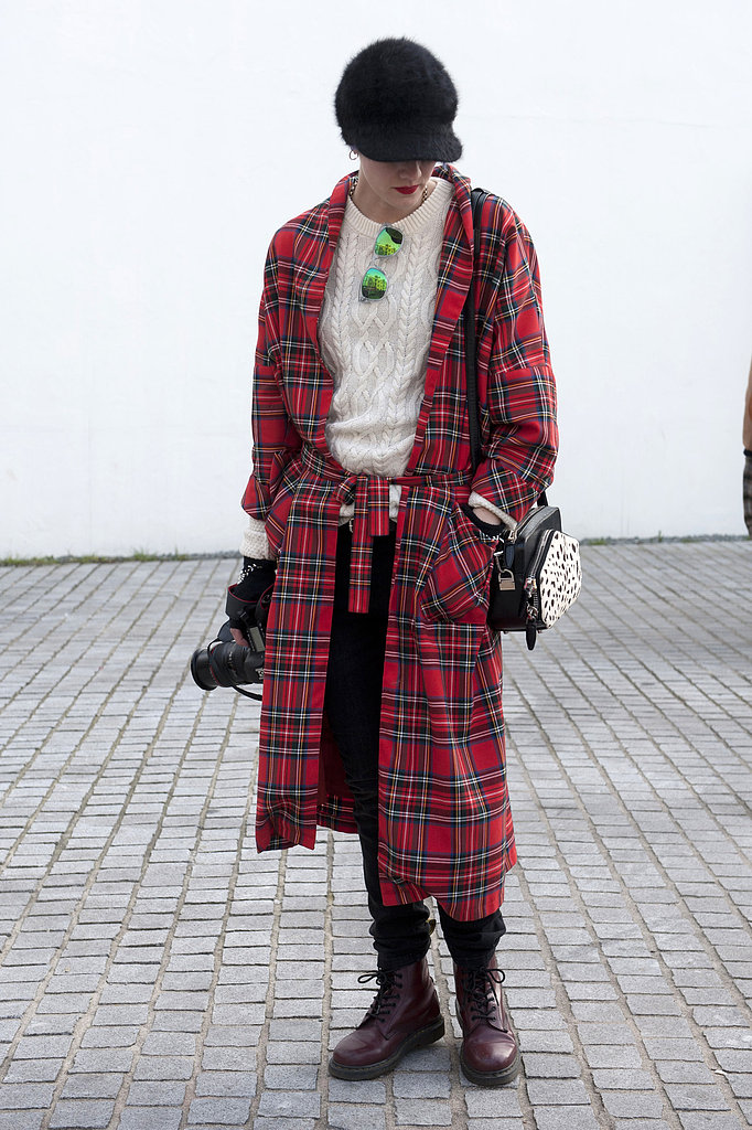 Plaid got the quintessential London punk complement with a pair of Dr. Martens.