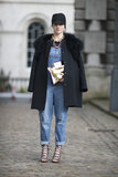 Overalls got a high-fashion makeover with a fur-trimmed topper, lace-up heels, and statement jewels. Source: Le 21ème | Adam Katz Sinding