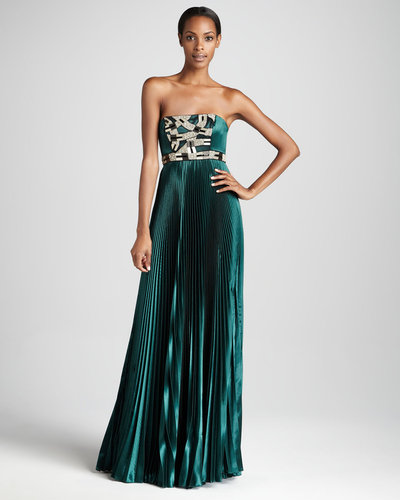 Theia Strapless Beaded Gown