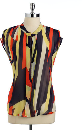 COLLECTIVE CONCEPTS Sheer Printed Blouse