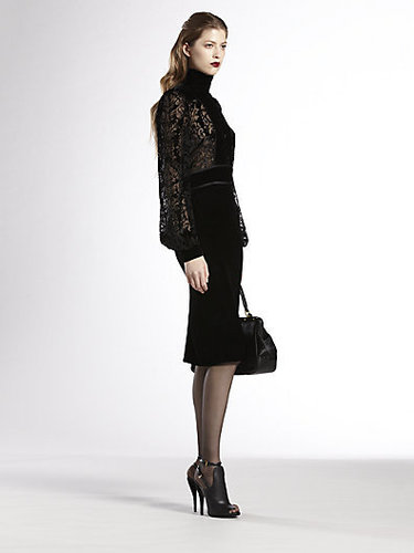 Gucci Sheer-Yoke Velvet Dress