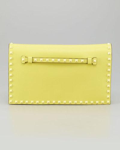 Valentino Rockstud Flap Clutch Bag, Soft Yellow