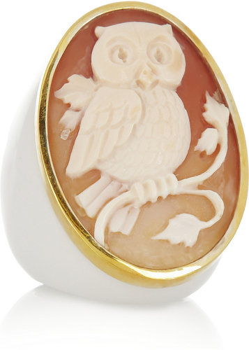 Amedeo Gold-plated, agate and cornelian owl cameo ring