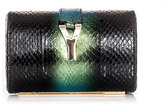 Yves Saint Laurent Degradé snakeskin clutch
