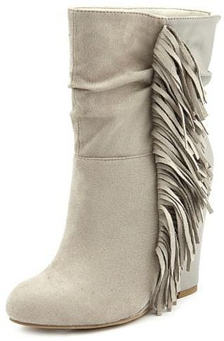 Sueded Fringe-Trim Wedge Bootie