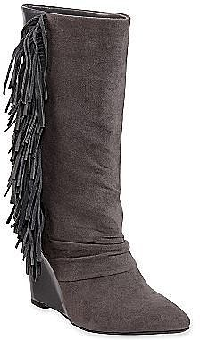 Cosmopolitan Eve Suede Wedge Boots with Fringe