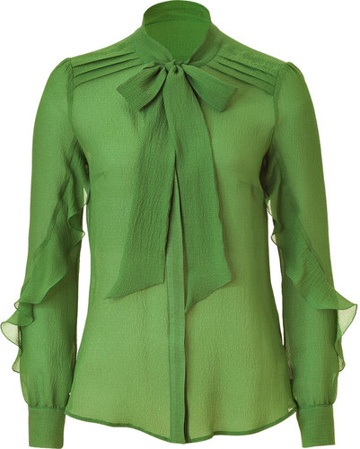 Etro Green Sheer Silk Top