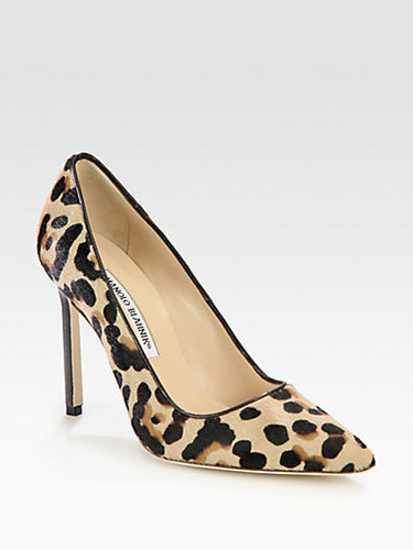 Manolo Blahnik BB Leopard-Print Pony Hair Pumps