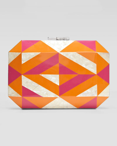 Rafe Dawn Shell &amp; Enamel Minaudiere, Orange/Pink