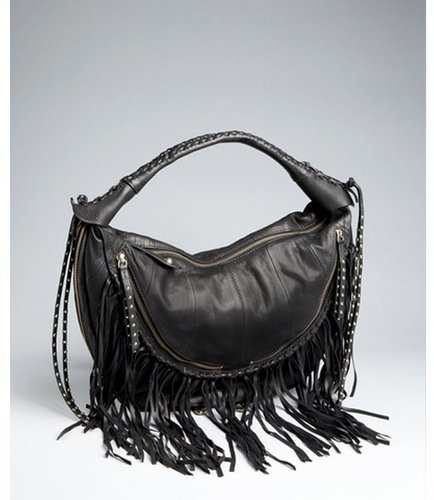 orYANY black leather zip fringe tassel hobo