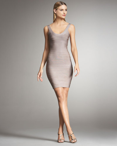 Herve Leger Basic Bandage Dress, Frappe