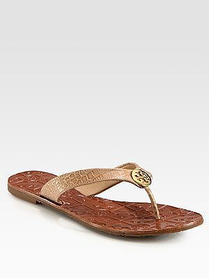 Tory Burch Croc-Print Leather Thong Sandals