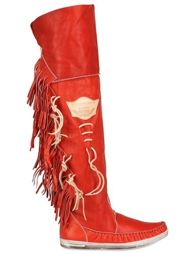 Nappa Leather Fringed Boots