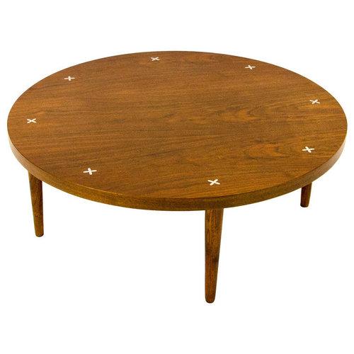 Round Mid Century Walnut Coffee Table