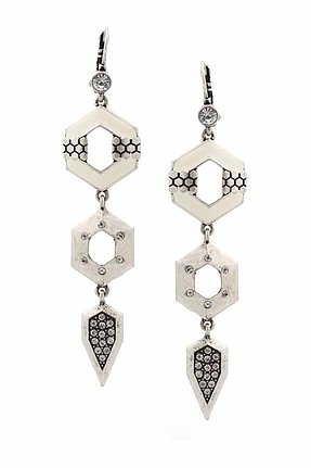 Belle Noel by Kim Kardashian Palladium Honey Hexagon Drop Earrings With Pave and Ivory