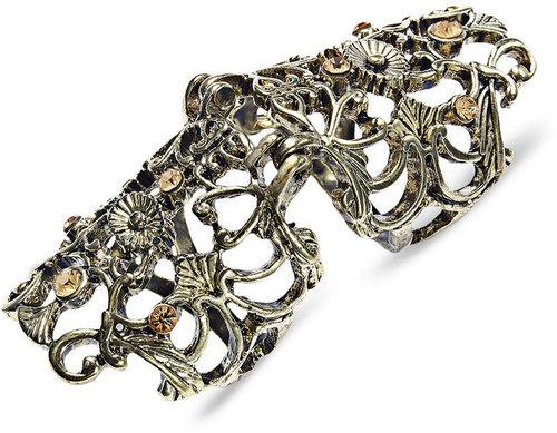 bar lll Bar III Ring, Burnished Gold-tone Filigree Knuckle Ring