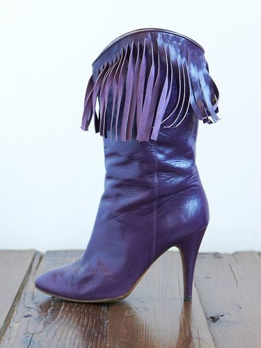 Vintage Purple Fringe Leather Boots