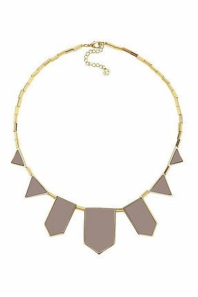 House of Harlow 1960 14KT Gold-Plated Khaki Leather Five Stations Necklace