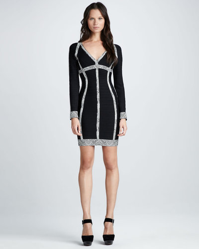 Herve Leger Long-Sleeve Bandage Dress with Printed Accents