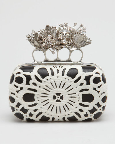 Alexander McQueen Laser-Cut Calf Hair Knuckle-Duster Box Clutch Bag