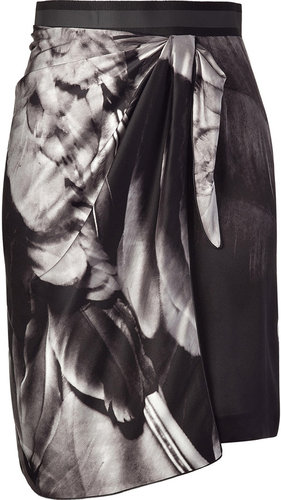 Emanuel Ungaro Black and white draped silk skirt