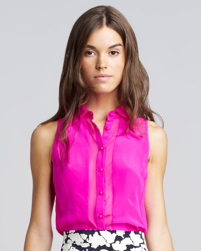 Nanette Lepore Sheer-Panel Silk Blouse