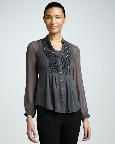Kay Celine Sequin Sheer Blouse