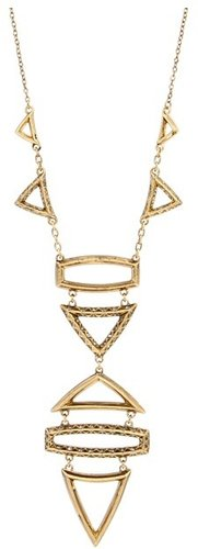 House of Harlow 1960 - Geometric Drop Necklace with Pave (14K Yellow Gold Plated) - Jewelry