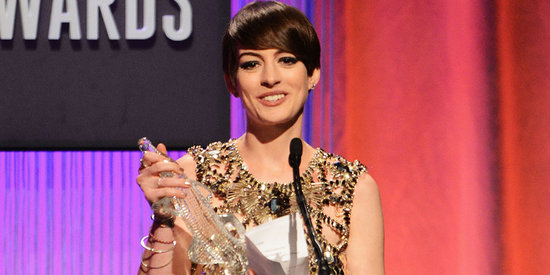 Anne Hathaway Glitters in Gold Just Days Before the Oscars