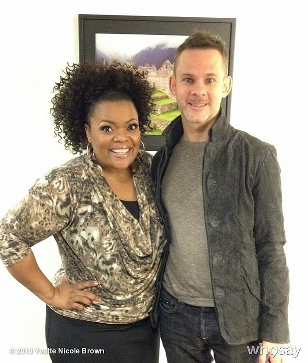 Yvette Nicole Brown jumped at the opportunity to pose with Dominic Monaghan backstage at The Jeff Probst Show. Source: Yvette Nicole Brown on WhoSay