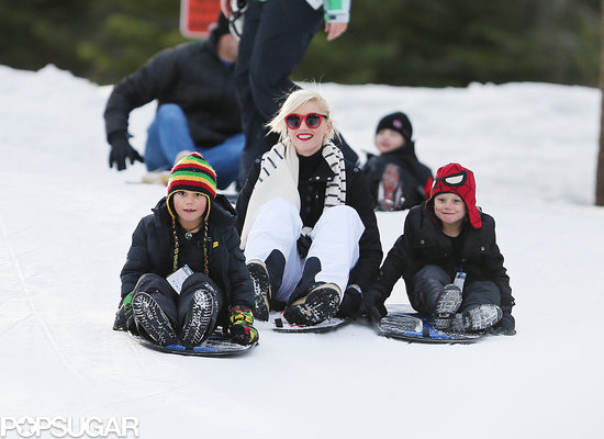 Gwen Stefani Sleds With Her Boys Following a Burton Collaboration