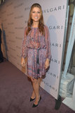 Kate Walsh kept things casual in a semisheer printed dress.