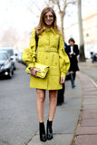 A bright citron coat gave staple ankle boots a high-wattage contrast.