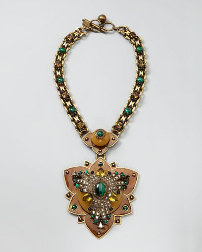 Lanvin Crystal Lotus Pendant Necklace