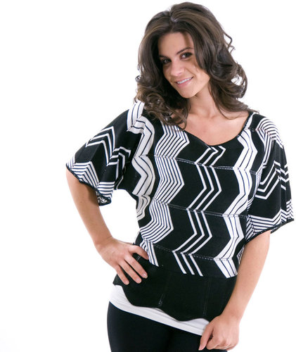 August Silk Chevron Boatneck Top