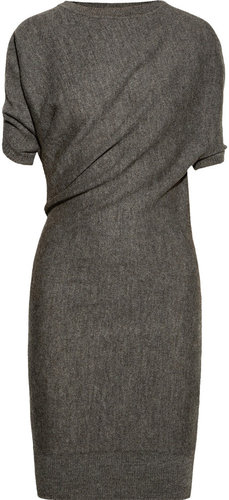 Lanvin Draped alpaca and wool-blend dress