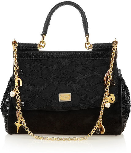 Dolce & Gabbana Mini Miss Sicily python-trimmed brocade bag