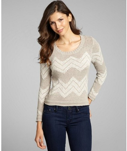 Greylin sand and white chevron cotton blend 'Chase' cropped sweater